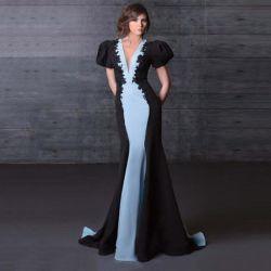 Parti noir satin bleu dentelle prom robes robes de mariée robes de soirée Mermaid Z93165