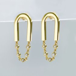 نمط مجوهرات [هيغقوليتي] [18ك] نوع ذهب يصفّى [سترلينغ سلفر] حلق