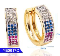 Dernière conception 925 Sterling Silver ou en laiton beaux bijoux pierres multicolores Fashion Hoop Earrings pour les femmes