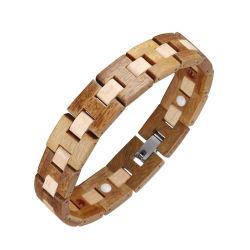 رجال [هندمد] جديدة خشبيّة سوار نمط خشبيّة فولاذ مجوهرات سوار