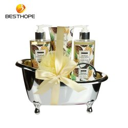 최신 판매 OEM 야자열매 온천장 샤워 젤 피부 관리 선물 목욕은 욕조에서 놓았다