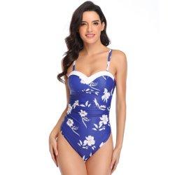 OEM van de douane Bodysuit van de Opdrukoefening van het Af:drukken van de Dienst Bloemen Ééndelige Vrouwen Swimwear
