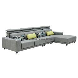 Sala de estar moderna mobília sofá de tecido cinzento multifuncional
