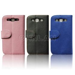 Élégant Portefeuille en cuir couleur solide PU L'affaire pour Samsung Galaxy S3 I9300 avec fentes de carte