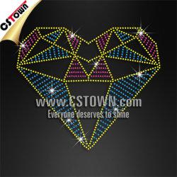 Diamante Heart 3D Design Rhinestud Heart T-Shirt Transfer