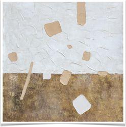 White&Goldtextured Abstract pintura a óleo Galpão imprime decoração Arte