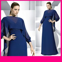 Short Sleeve Round Neck a-Line Full Lenth Chiffion Mother Dress