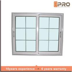 Puder überzogenes vertikales schiebendes Aluminiumwindows mit zwei Spur-schiebendes Fenster-Preis im Philippinen-grossen schiebenden Glasfenster