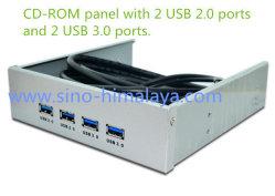 """5.25"""" 2 portas USB 2.0 + 2 portas USB 3.0 Hub Hub múltiplos do painel frontal do compartimento de expansão"""