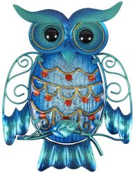안뜰 현관 문을%s 옥외 거는 예술 파란 유리제 새 조각품 금속 올빼미 벽 장식