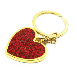 Gravé en plaqué or en métal coeur rouge personnalisé de beauté personnalisés Glitter Chaîne de clé