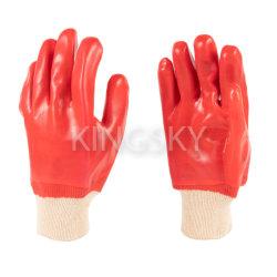 À prova de água de PVC Vermelho totalmente revestidos com luvas de algodão tricotado-5118 de punho