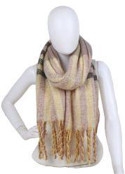 De naar maat gemaakte Ontwerper Dame Accessories Acrylic Cashmere Stripes borstelde Dikke Sjaal met Lange Tassle