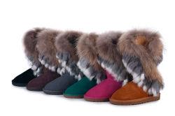 Envio gratuito 2013 inverno quente botas de neve muito alta, couros e peles de coelho Fox Artificial Pendão sapatas das mulheres