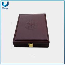 Medalla personalizada, una moneda, Insignia de solapa Caja de cuero de PU y caja de madera para regalos