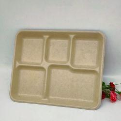 5 plateaux de l'alimentation en papier jetables compartiment de plateaux repas