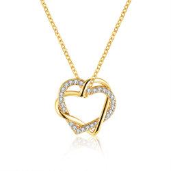 Venda a quente Jóias de 18k pingente de coração o colar de diamantes e ouro ouro Rosa Colares