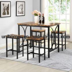 Unihomes 5 pcs Table et chaises de salle à manger ensemble avec table en bois Haut de page 4 chaises Table à manger ensemble pour la maison ou l'hôtel Salle à manger, cuisine (beige et noir)