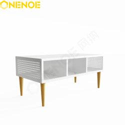 Onenoe Modern Home Furniture Design unico metallo telaio caffè mesh Tavolo tavolo tavolo lato Giardino tavolo fine tavolo con aspetto cereali Gamba in legno massiccio per la vita patio