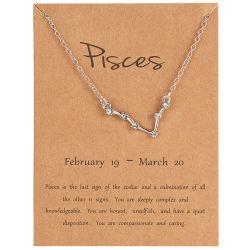 Nuova collana semplice creativa del segno di disegno di lettera dei 12 zodiaci dei monili all'ingrosso del regalo