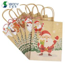 Kerst Decoratie Kerst Drukwerk Bruin Kraft papier Pouches Vakantie Kerst Cadeautas met Twisted Paper Handle