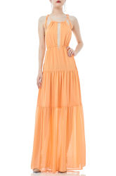 Ban2004-0117 Dames Oranje Sleeveless Pleated chiffon Strap Maxi Holiday Dress