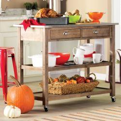 A American Home Styles Antique Todos Solid 2 gaveta de madeira Carrinho de cozinha com aço inoxidável