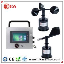 Stazione di monitoraggio del display della velocità e della direzione del vento in plastica Rk160-02 ABS Con analisi dei dati del registratore