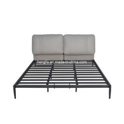 Comercio al por mayor Hotel moderno dormitorio tapizado de cuero hierro cama King Size