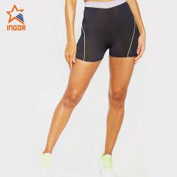 Venda por grosso de treino personalizado mulheres Fashion executando o contraste obrigatório Ginásio Fitness Shorts de base preta