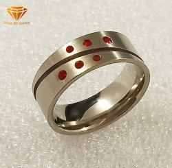 Bisutería joyería en plata de acero inoxidable G23 Cuerpo de titanio Joyería CZ Cuting Weddiing Rojo Titanio Anillo TR2029