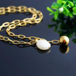 ステンレス鋼の宝石類の工場直売、方法方法長いネックレス、球の真珠のようなシェルの石のセーターの鎖