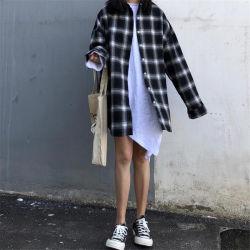 Haute qualité de coton et de toile de lin de couleur Tissu respirant Plaid Shirt