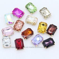 De Bergkristallen van de rechthoek 10*14 naaien op de Stenen van Strass van het Glas voor het Kostuum van de Dans (SW-10*14mm)
