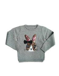 Enfants Les enfants filles pullover en tricot Pull avec broderie de lapin