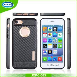 غطاء حقيبة محمول طراز Defender قليل السمك ومقاوم للصدمات PC+TPU للخدمة الشاقة بالنسبة إلى هاتف iPhone 7 Plus من ألياف الكربون الخلفي