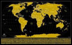 """州およびフラグが付いている世界のマップを離れたスクラッチ。 黒い旅行追跡者のマップ、34 """" *21 """""""