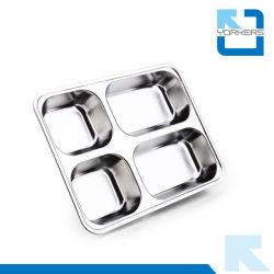 Piatto del cassetto del servizio dell'alimento dell'acciaio inossidabile dei 4 scompartimenti & casella di pranzo