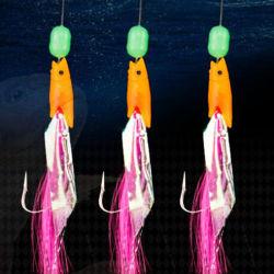 3PCS/Pack StachelSabiki orange Fisch-Kopf-leuchtendes Raupe-Fischen-Zusatzgerät der Fischerei-Haken-Anlage-Size3/0