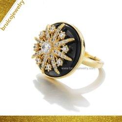 As vendas de ouro amarelo ródio anel com CZ/Preto Onyx Star em forma de flor 925 Anel de prata para Senhoras