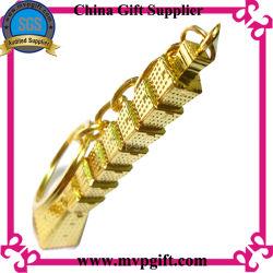 Schlüsselkette des Metall3d mit Goldfarben-Schlüsselring-Geschenk