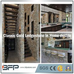 Oro blanco clásico de la vena de madera apilados de piedra de pizarra Cultural chapa