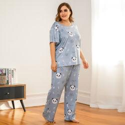 Los grandes de manga corta de algodón de verano los pantalones de algodón tejido conjunto de pijama mujer ropa de la casa de dos piezas