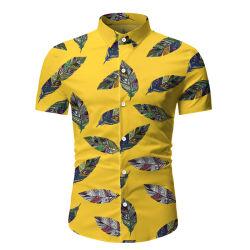 قميص أزياء ورقة أزياء طباعة قميص شاطئ غير رسمي للرجال