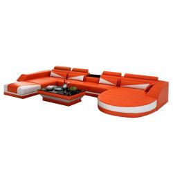 Sofà comodo del cuoio della mobilia del salone del Chaise U di svago moderno domestico di figura dell'Italia doppio (G8018)