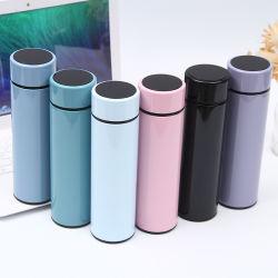 des Wasser-500ml Arbeitsweg-Sport-Cup Flaschen-Geschäfts-gerader Becher-intelligentes Vakuumdes kolben-LED Digital mit Kappe