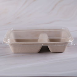 2つのコンパートメント生物分解性の使い捨て可能なテークアウトのサトウキビの食糧容器