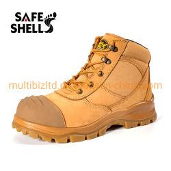 Puntale in acciaio Suola in PU a doppia densità strato superiore Nubuck Scarpe di sicurezza da lavoro in pelle