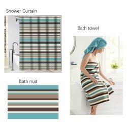 3pcs Duschsets, Serene Streifen Muster Duschvorhang, rutschfeste Badezimmer Teppiche, Badetuch, Meer