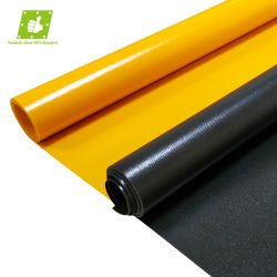 نيلون مطلي من مادة PVC بلون أسود أصفر مقاوم للشعلة ومقاوم للماء التربولين